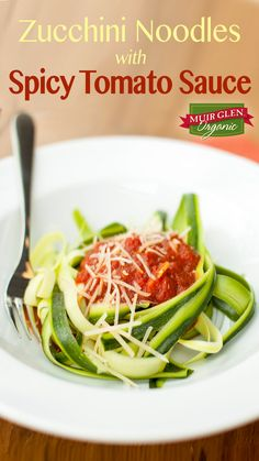 Zucchini Noodles with Spicy Tomato Sauce recipe is a light, fresh spin on traditional spaghetti marinara. The spicy tomato sauce is also great tossed with roasted vegetables or in your favorite eggplant parmesan recipe. Muir Glen Organic crushed tomatoes with sweet basil add an extra flavor boost to this sauce.