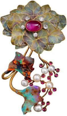 """""""Feuilles et fruits"""" Art Nouveau ~ brooch created approx. By Belgian Philippe…"""