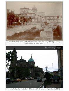 The Cathedral you see in the old photo above is the seventh one to be built on the site. It was replaced with the present one in 1958 after the former was destroyed, together with the rest of Intramuros, during the Battle of Liberation in Intramuros, Filipiniana, Present Day, Then And Now, Manila, Old Photos, Philippines, Taj Mahal, Cathedral