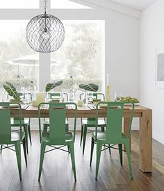 Live live live this - esp The colour of those Green chairs, reclaimed wood table, mesh lighting, dining room Dining Room Chairs, Table And Chairs, Side Chairs, Metal Chairs, Dining Tables, Painted Chairs, Kitchen Tables, Side Tables, Table Bench