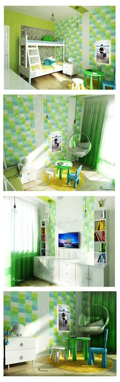 Contemporary kids room design for boy and girl. In this project we used neutral colors for both boy and girl, Edison glass pendants, bunk bed and a bubble chair.#Kidsroom #Nursery #Green #Boy #Girl #Crown #Jysk #Bubblechair #Bubble #Chair #bunnbed #Interiordesign