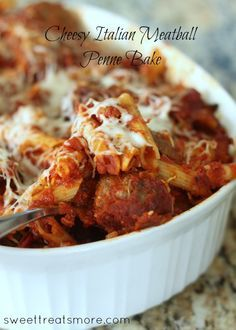 Cheesy Meatball Penne Bake