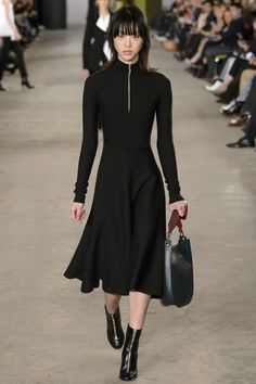 Ready for the Office - Positively Chic Black, Long Sleeve Dress with a Zipper Turtle Neckline by Boss Fall 2016 Ready-to-Wear Fashion Show