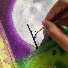 Watercolor Paintings For Beginners, Watercolor Art Lessons, Art Drawings Beautiful, Art Drawings Sketches Simple, Art Painting Gallery, Artist Painting, Watercolor Moon, Guache, Diy Canvas Art