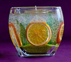Large Orange Slice and Green Leaf Gel Candle in by jealousflame,