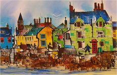 Sue Howells Walking The Dog, Beach Crescent,Broughty Ferry Signed Limited Edition Print | Contemporary Art