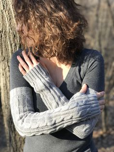 Katniss and Outlander inspired extra long medieval cable knit arm warmers mittens wristers texting gloves by KnitPlayLove on Etsy