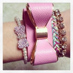 pink leather bow bracelet
