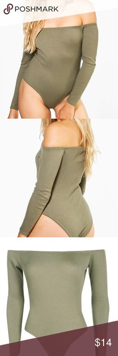 New Boohoo Off Shoulder Olive Bodysuit Brand new, never worn bodysuit from the UK. Off shoulder. Wear under jeans or a skirt paired with a choker. Boohoo Other