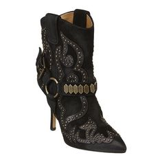 """Western and rocker glam in one bootie.  It is all about the stunning details.  Mini studding and leather design accents.  Front buckle with large studding.  Stacked 3 3/4"""" leather heel.  Leather upper and sole.  This style is available exclusively @ Nine West Stores & ninewest.com."""