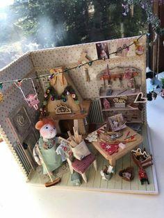Needle felting mouse , maus in weihnachtswerkstatt By fantasyzauber v.rieckmann