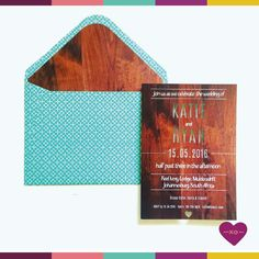 Wood inspired invitation with matching envelope.