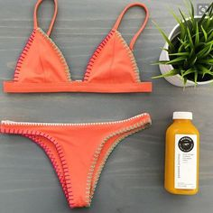 Orange Sexy Bathing Suit Swim Bikini Set