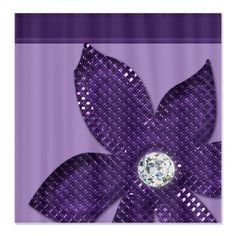 Diamond and Flower Fabric Shower Curtain