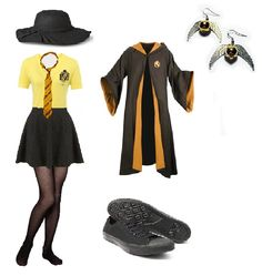 Another Harry Potter bound outfits for The Wizarding World Of Harry Potter at universal studios that I'll be wearing for the park. Planned it for a comfy but stylish outfit :). My hufflepuff vneck shirt, hufflepuff robe, hufflepuff tie, black floppy hat, black sneakers and my golden snitch earrings <3.