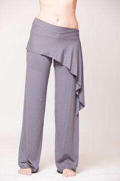 Grey Yoga Pants Skirt Skirted Leggings Womens yoga by hsBodyTalk