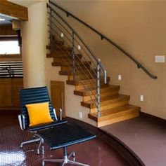 """Staircase Idea. Use recycled teak treads? Need to """"craftsman"""" it up bit."""