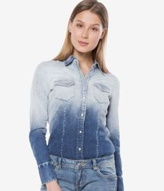 Camasa de blugi dama cambrata in degrade Denim, Casual, Jackets, Tops, Women, Fashion, Down Jackets, Moda, Fashion Styles