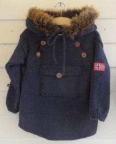 Warm and comfy jacket made in DROPS Lima. The edge is made by fake fur and sewn on.  The pattern is for sale at www.sisive.no. And is available in English and Norwegian for kids and in Norwegian for adults.