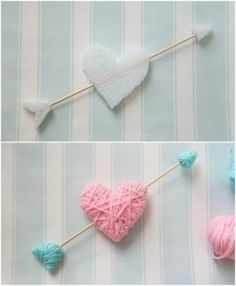 Wrap styrofoam hearts in yarn for a kid friendly Valentine's Day craft. NO GLUE, NO MESS!