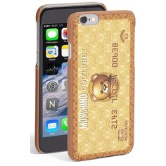 Moschino 'Teddy Bear Card' iPhone 6 & 6s Case ($75) ❤ liked on Polyvore featuring accessories, tech accessories, gold, iphone cover case, iphone case, moschino and apple iphone cases