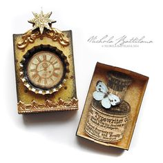 Altered Matchbox  Ink and the butterfly by PixieHillStudio on Etsy - A small altered matchbox. I'm not sure why a butterfly and typewriter ink go together, but I'm sure there's a wonderful story in there somewhere :) $22.17