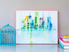 New York Art Original Watercolor painting NY Skyline Skyscrapers Cityscape Art City NYC Painting Abstract art Modern Buildings Neon Orange