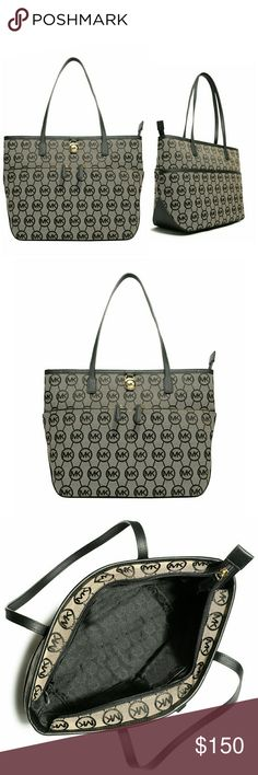 🎉HP🎉 MICHAEL KORS Logo Medium Tote Handbag NWT AUTHENTIC MICHAEL KORS Logo Medium Tote Handbag  Handle anything with style when you have this iconic  medium pocket tote from MICHAEL Michael Kors, that features a signature print allover and two zip pockets at front.   MK Signature Logo pattern Goldtone MK logo lock at front Two top handles, 10 inch drop  Zip top closure 2 zip front pockets  Interior: one zip pocket, three open pockets, one cell phone pocket 14.5 inch Width by 9.5 inch…