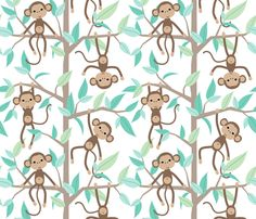 Monkey Jungle fabric by heleenvanbuul on Spoonflower - custom fabric