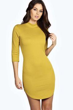 Lauren 3/4 Sleeve Curved Hem Bodycon Dress alternative image