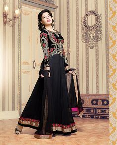 Black anarkali suit with heavy embroidered yoke   1. Black poly georgette anarkali suit2. Comes with matching bottom and dupatta3. Can be stitched upto bust size 42 inches