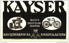 Original-Werbung/ Anzeige 1913 - KAYSER NÄHMASCHINEN / FAHRRÄDER KAISERSLAUTERN ca. 75 x 45 mm