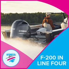 The all new F-200 In-Line Four. Lightweight with a heavy punch! #Automotiveart #Yamaha #F200inlinefour #boats
