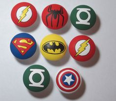Hand Painted Super Hero drawer pulls pull dresser knob avengers green lantern flash batman superman spiderman hulk. $5.00, via Etsy.