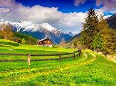 Spring Landscape in the Swiss Alps jigsaw puzzle in Puzzle of the Day puzzles on TheJigsawPuzzles.com