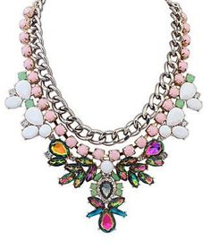 Vintage Flower Drop Statement Necklace