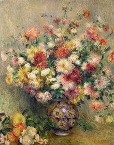 Dahlias Painting  -Pierre Auguste Renoir