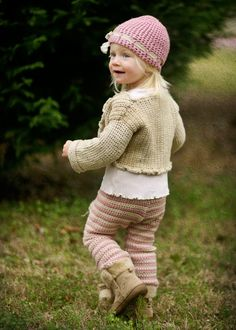 Little Eco Stripey Pants Pink Hand Knit Crochet Eco by joretta on etsy