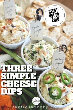Not one, not two, but THREE amazing gourmet cheese dips to make at home. Like going to a fine cheese shop and buying Smoked Gouda Dip, Garlic & Gruyer Dip and spicy Jarslberg Jalapeno Dip. Make them all in a flash, serve hot or cold, these low carb dips will be the talk of the party! Perfect for tailgaiting and holiday entertaining. Recipes via @thefreshcooky | #cheese #gruyere #gouda #jarlsberg #dip #appetizer #keto Best Appetizer Recipes, Best Appetizers, Dip Recipes, Cheese Recipes, Easy Recipes, Delicious Appetizers, Gourmet Cheese, Cheese Dips, Gruyere Cheese