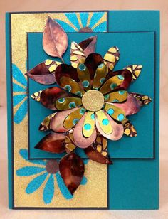 Beautiful card by Els of Elizabeth Craft Designs using their dies, microsilk glitters and Bronze Shimmer Sheetz.
