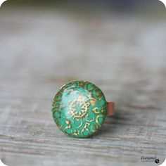 Adjustable Ring  Round Green Ring by Dariami on Etsy, $14.00