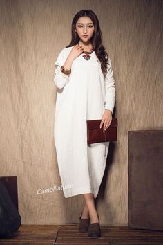 XLXXXL Maxi Dress / White Kaftan Linen Dress / by camelliatune