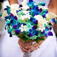 Blue dendrobium orchid wedding bouquet