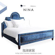 出口欧美式乡村布艺软包床1.8/1.5米双人床样板房家具地中海深蓝