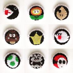 #CubiesCharm #charm #felt #handmade #handsewn #craft #mariokart #racing #badges #pins #shyguy #chomp #thwomp #boo  #mario #cute #kawaii #accesory #diy by cubiescharm