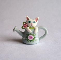 Miniature White Kitten Cat in Watering Can OOAK by ArtisticSpirit