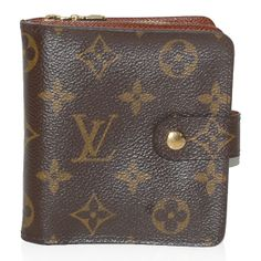 Brown and tan monogram coated canvas Louis Vuitton Porte-Papier Zippé wallet with brass hardware, zip compartment at back, brown textured leather lining, five card slots, single cash slot and snap closure at front. Louis Vuitton Wallet, Vuitton Bag, Louis Vuitton Monogram, Diary Covers, Vintage Louis Vuitton, Monogram Canvas, Purse Wallet, Zip Wallet