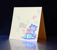 Just Kate crafting: Purrfect birthday | Cat stamp set by Newton's Nook Designs