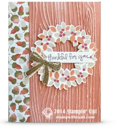 Stampin Up Wondrous Wreath and Good greetings card for the fall