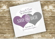 Print Your Own (DIY) Color Customizable Polka Dot Hearts Save the Date Card on Etsy, $15.00 CAD